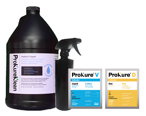 (3) 1 gallon ProKure v packet w/  (1) gallon bottle and (1) free 16 oz. bottles and FREE 10 gram ProKure d extended deodorizer